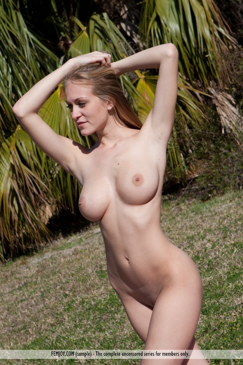 Nude girl at a picnic consider